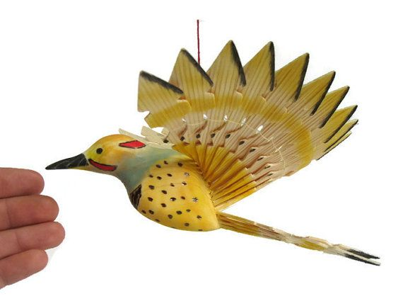 Wooden Fan Bird Carving Hand Carved Northern Flicker by MyFanbirds