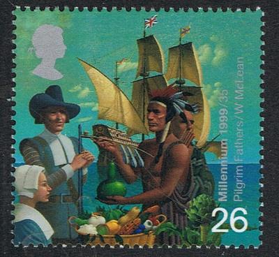 Pilgrim Fathers Mayflower and Native American on 1999 British Stamp