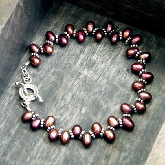 Burgundy Side Drilled Freshwater Pearl Bracelet by eyestigmatic, $28.00