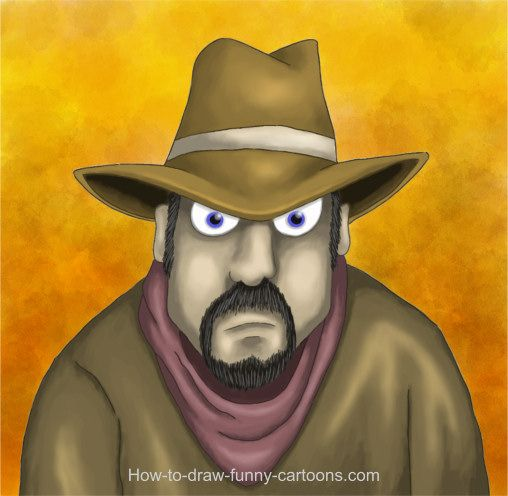Learn how to draw a cute cartoon cowboy by following the link from this illustration.