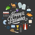 Happy passover poster pictogram with moses, pyramid, typographic font and element, flat design