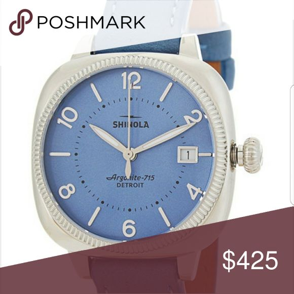 2 in 1 Blue Shinola Gomelsky and Leather Care Balm Women's Blue Gomelsky Stainless Steel & Leather Strap?  Comes with leather Care balm and original box Shinola Accessories Watches