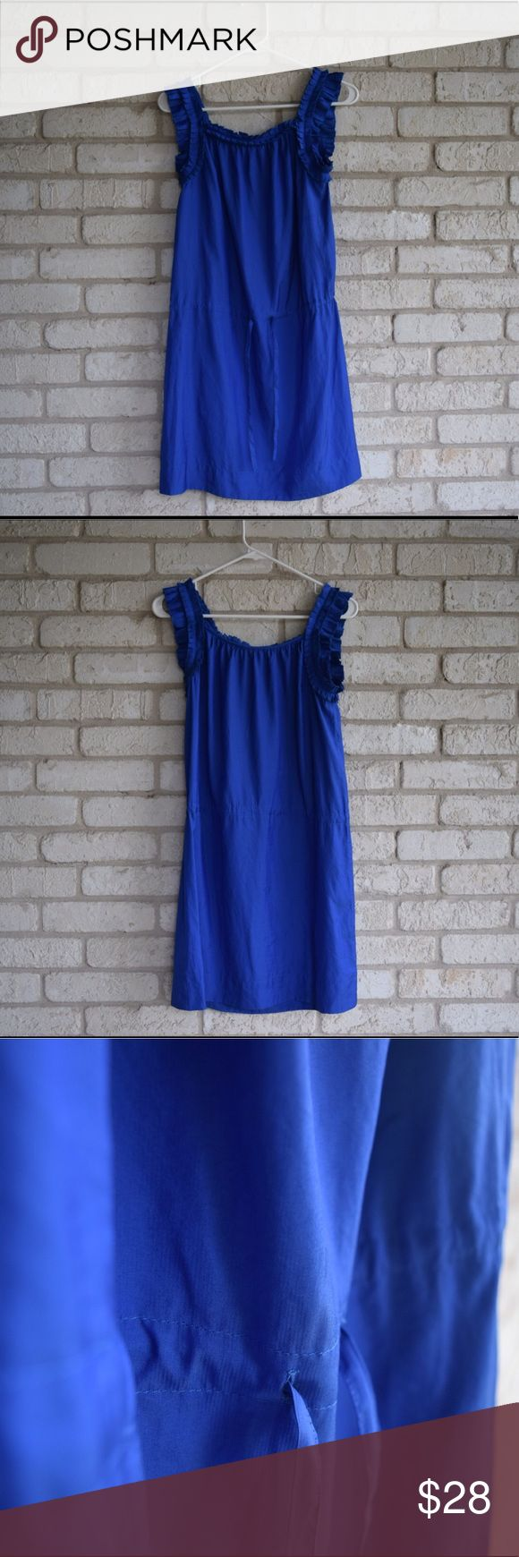 Anne Taylor Loft Drop Waist Royal Blue Dress Anne Taylor Loft sleeveless royal blue dress with drop waist and drawstring. Lightweight, folded details on sleeves, and perfect for business casual dress code or a more formal event. Ann Taylor Loft Dresses