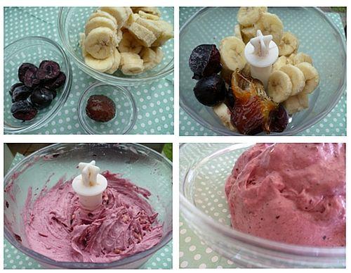 zuivelvrije ijscrème (dadels, banaan, aardbei, kersen)