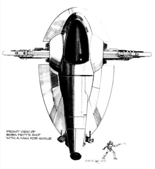 """-JOE JOHNSTON- concept art for Boba Fett's """"SLAVE 1"""" bounty hunter ship."""