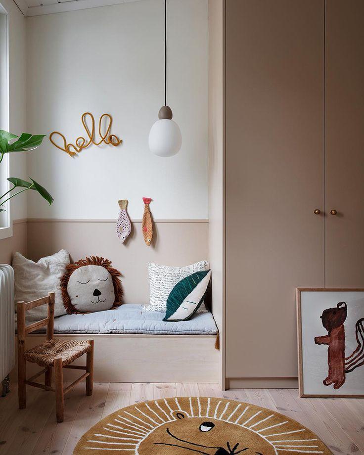 Cute kids room in beige tones