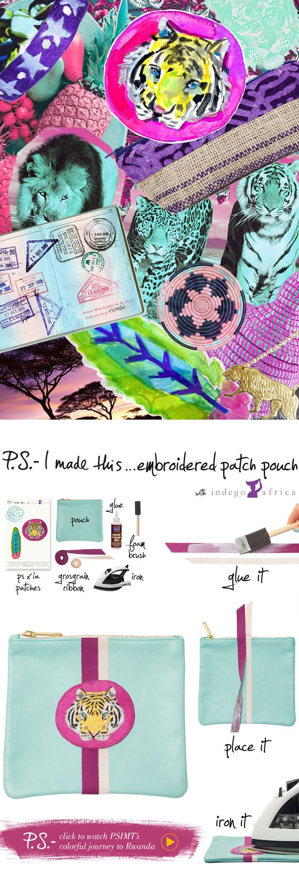 P.S.-I made this...Embroidered Patch Pouch with @IndegoAfrica #PSxIndegoAfrica #PSIMADETHIS #DIY