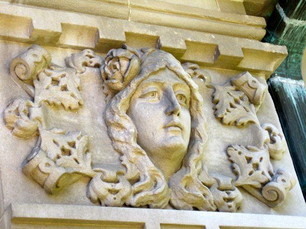 Architectural detail on exterior of historic Bettendorf Mansion, campus of…