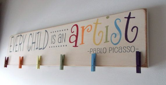 Every Child Is An Artist Children's Art Display by primsnposies- I could make something similar