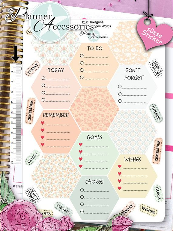Hexagon Stickers To Do Stickers Weekly Kit by EmelysPlannerShop