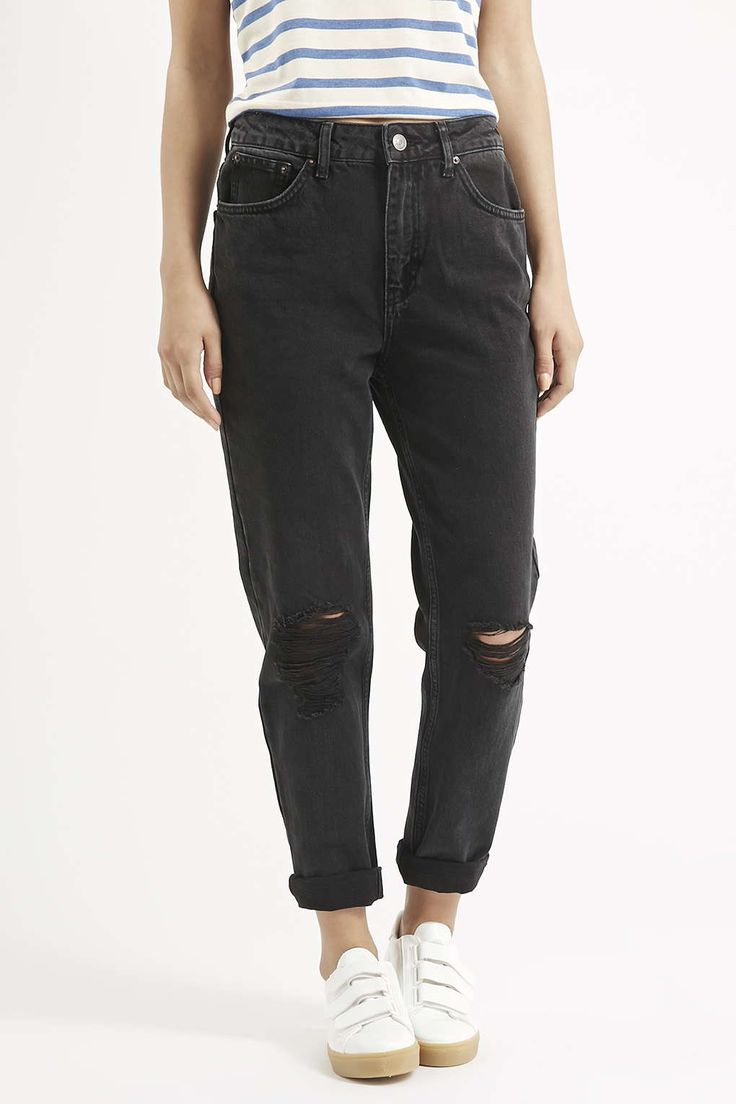 Photo 2 of MOTO Washed Black Ripped Mom Jeans