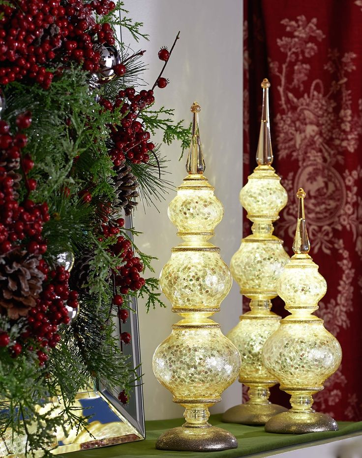 H208691 Illuminated Finials have graduated heights and arrive in a set of three .http://qvc.co/-Shop-ValerieParrHill