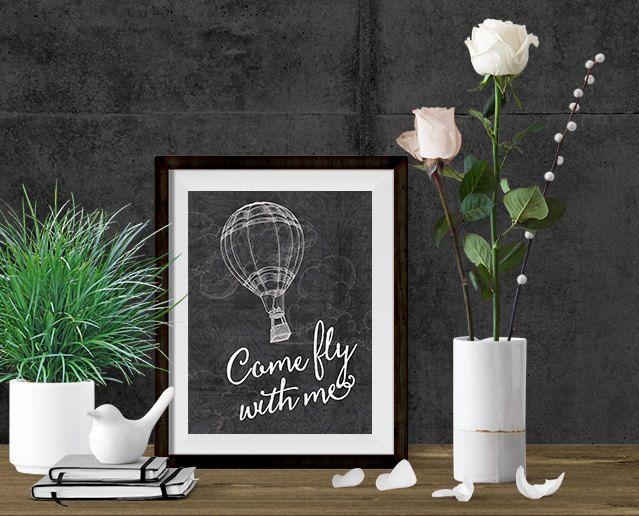 Nursery Wall Art - Kids Print - Printable Art - Come Fly With Me - Baby Quote - Nursery Decor - Nursery Wall Decor - Printable Wall Art