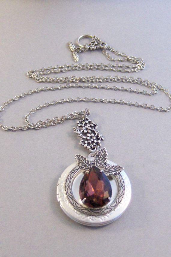 Woodland Fig Granat Medaillon antiken Medaillon Silber