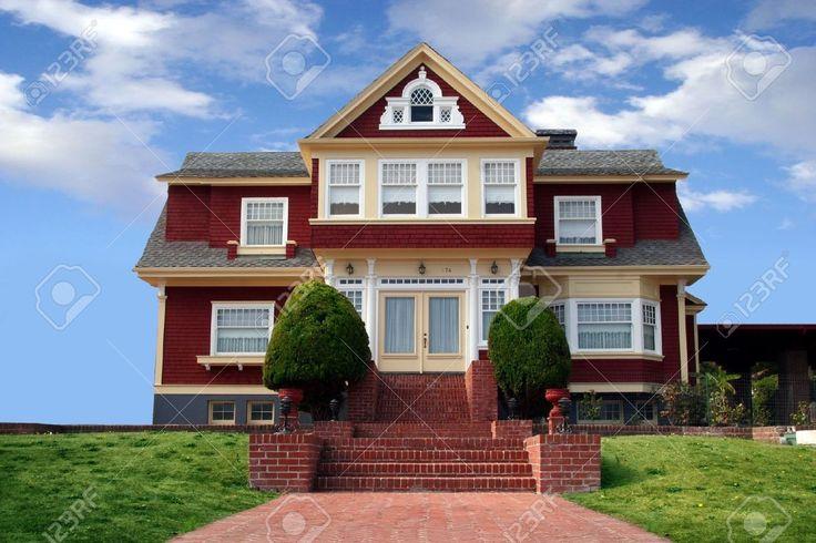 604986-Belle-maison-rouge-avec-une-pelouse-dans-l-avant-Banque-d'images.jpg (1300×866)