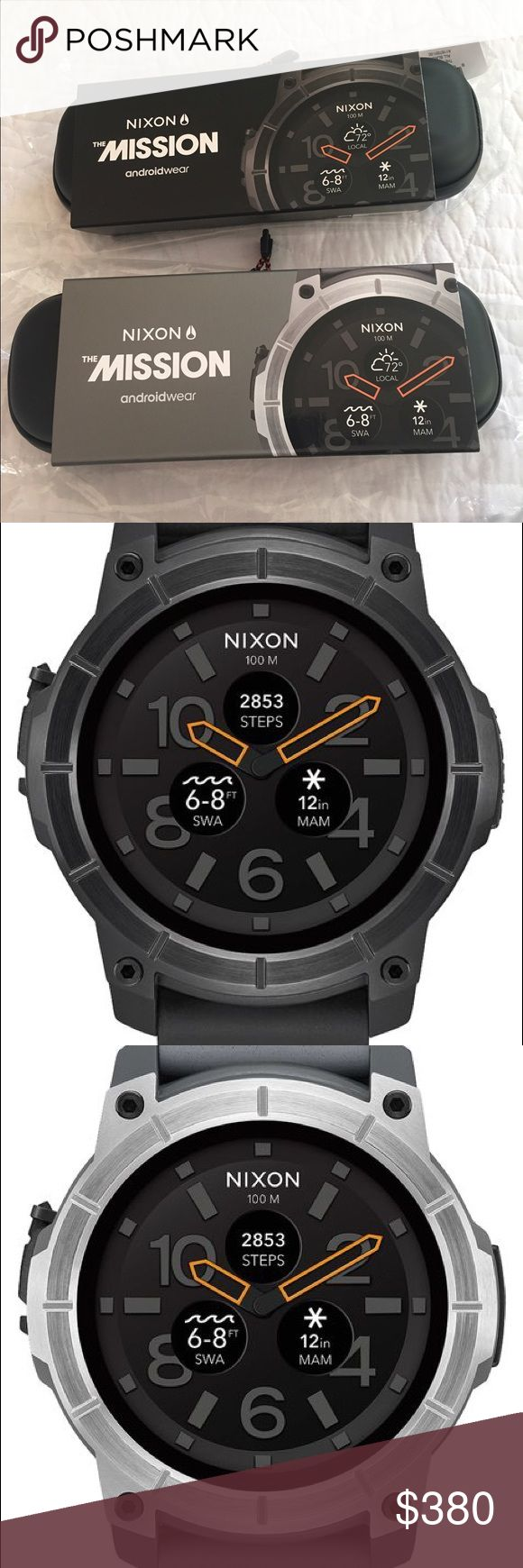 Nixon The Mission Smartwatch Black and Gray Nixon smartwatch, compatible with iPhone and android. Waterproof. New in box with tags Nixon Accessories Watches