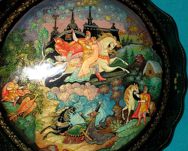 "Fairy Tales,  Russian | Maria Morevna"" Russian Fairy Tale Hand Painted Palekh Lacquer Box ..."