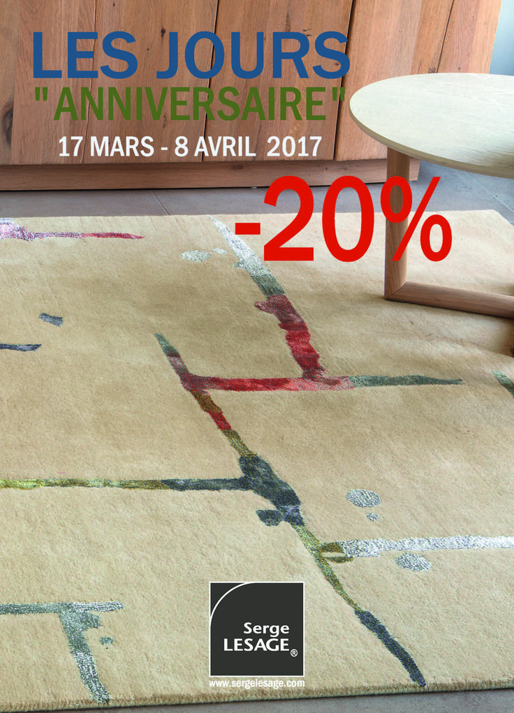 Special offers until April 8, in Serge LESAGE stores which participate at the event 'Les Jours Anniversaire'