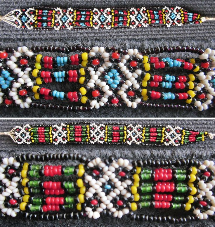 Two bracelets in beadwork. Turkish work, from the northern part of the Burgaz province (Bulgaria), mid-20th century. Glass beads and cotton strings. (Inv.nrs. bon007a&b - Kavak Costume Collection-Antwerpen/Belgium).