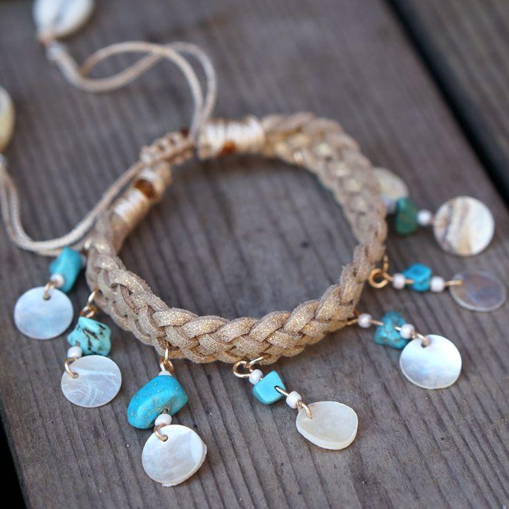 Beach bracelet / leuke hippe armband met schelpe en steentjes