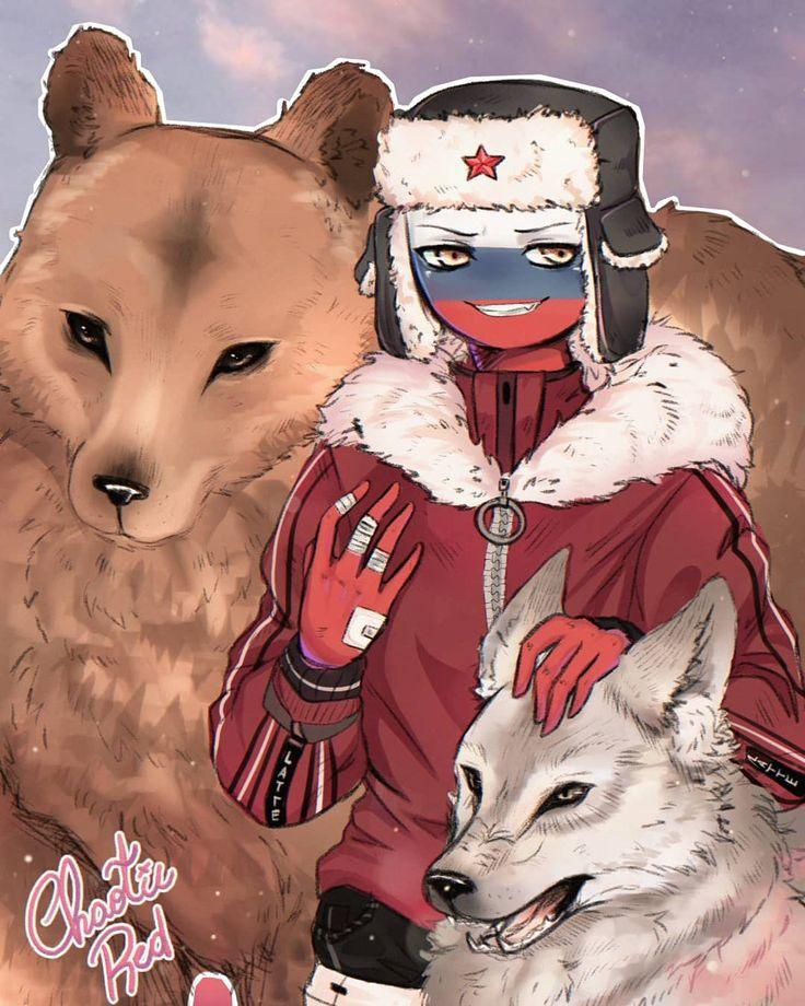Россия в виде девочки котика