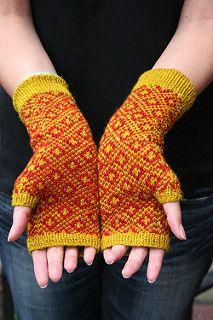 Knitting Needles ~ Endpaper Mitts Fingerless Gloves ~ Free Pattern