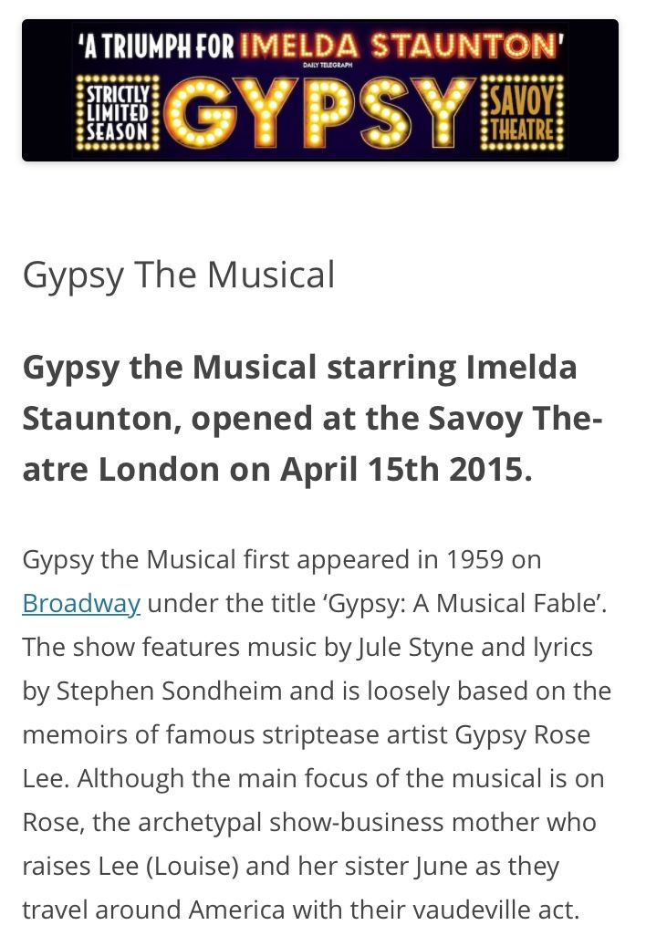 74 best GYPSY, Savoy Theatre, London 18.4.2015 images on Pinterest ...