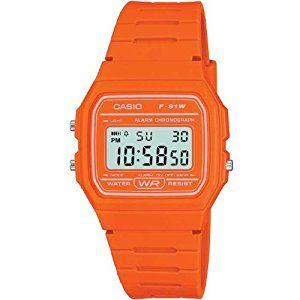 Casio Men's F-91WC-4A2EF Quartz Watch with Orange Dial Digital Watch and Orange Resin Strap: Casio: Amazon.co.uk: Watches