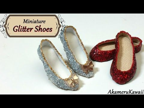 ▶ Miniature Sparkly Glitter Doll Shoes - Polymer clay & fabric tutorial - YouTube