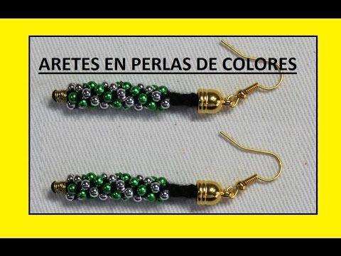 ARETES EN PERLAS DE COLORES 5