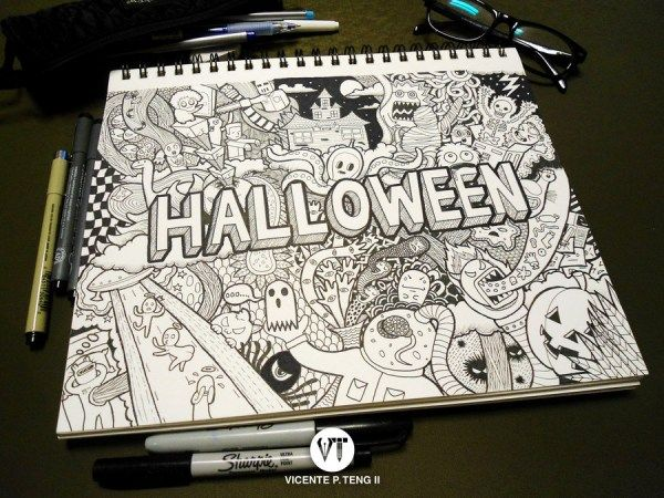 Loving this Halloween DoOdLe by artist vincenteteng