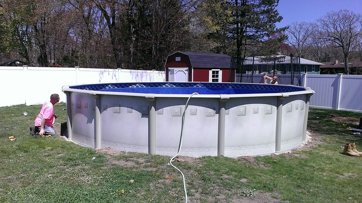 24rd trevi with ventura beaded liner above ground pools for Piscine trevi