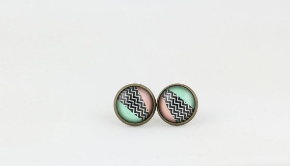 Striped Stud Earrings - Patterned Earrings - 12mm Stud Earrings - Green and Pink Earrings - Black and White Design Earrings - Gifts for Her