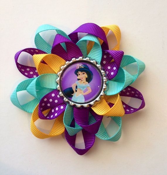 Princess Jasmine Hair Bow. Bottle Cap with Jasmine image bow on Etsy, $5.00