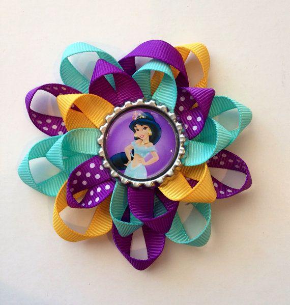 Princess Jasmine Hair Bow. Bottle Cap with Jasmine image bow on Etsy, $5.00