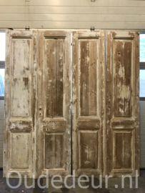 nr. set535 drie sets half geloogde antieke deuren   Dubbele deuren, setjes kastdeuren   Oudedeur - paneeldeuren :