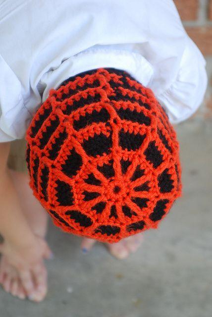 005 by Silvertears1275, via Flickr       crocheted spider-web beanie