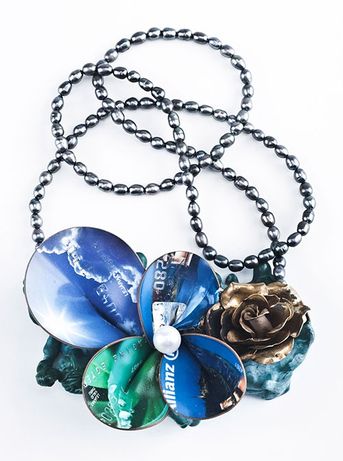 Réka Lörincz  Necklace: The flower of Evil serie 2012  Plastic, pearl, copper, silver
