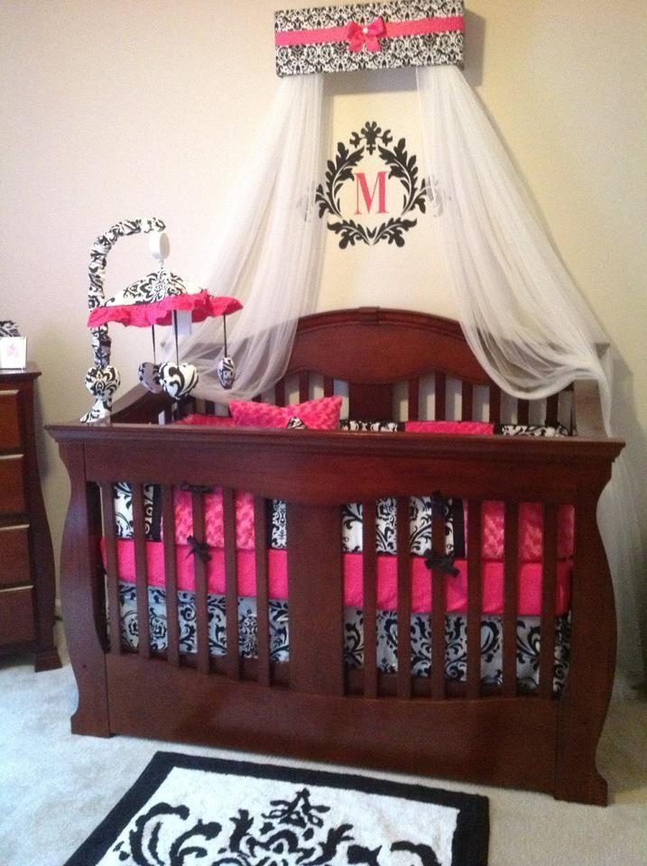 Damask & hot pink nursery