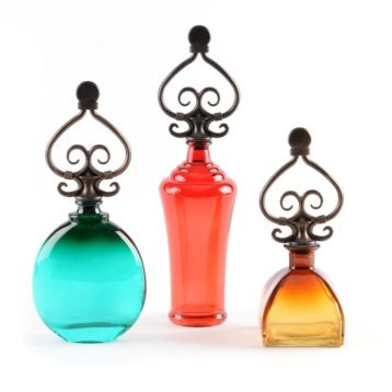 Scrolled Glass Bottle, Set of 3