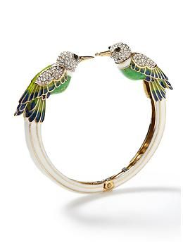 This is perhaps simultaneously the cutest and most fancy hummingbird bracelet ever made. Perfect for dress up or as a statement bangle to accessorize with shorts and a cool tank.