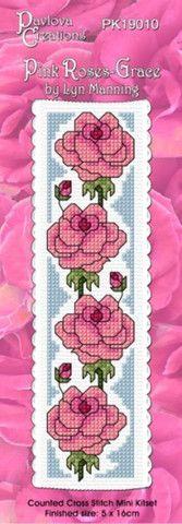 Cross-stitch bookmark - Pink Roses - Grace – NZ Fabrics & Yarn