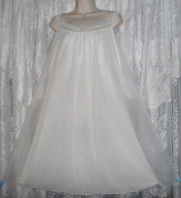 Vtg-Bridal-White-LISETTE-Babydoll-Sheer-Chiffon-Nightgown-Negligee-Nightie-M-L