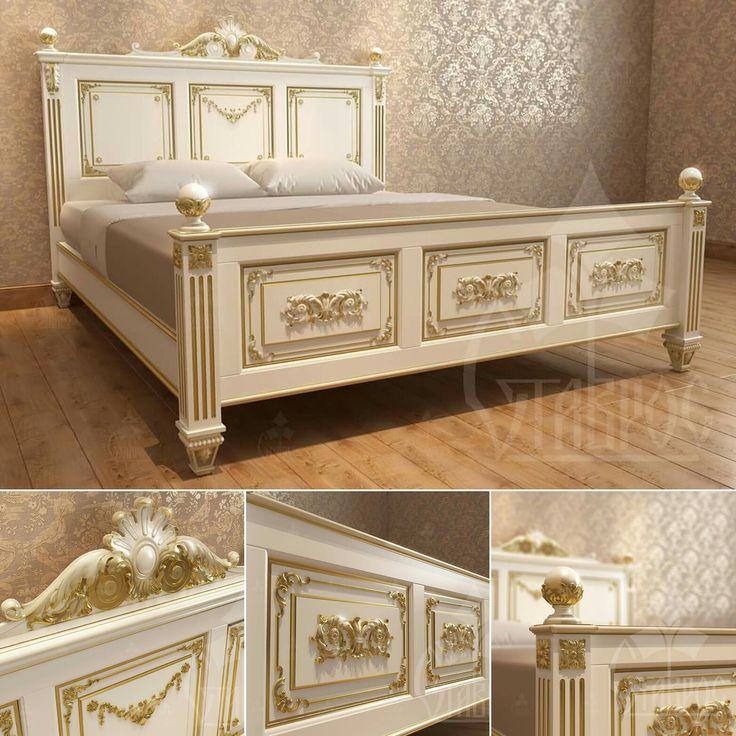 Белая с патиной резная деревянная кровать