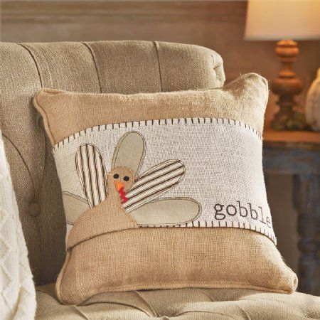 Gobble+Turkey+Pillow+Wrap Burlap+Pillow+Also+Available! Now+in+Stock