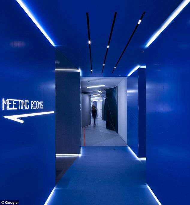 The Dark Blue Corridor Are Highlighted By Futuristic Dim Lights Coming From  The Corners At The Floor Base And The Ceiling. Would Love To Do This For  The ...