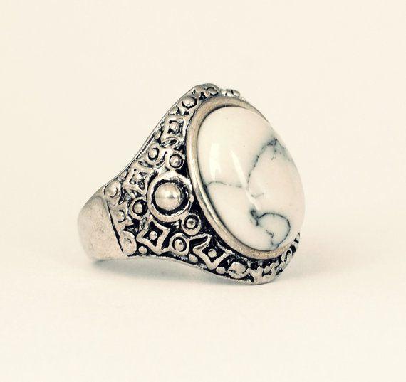 Tibetan Bohemian White Stone Ring Vintage Silver by VFJewellery, £7.00