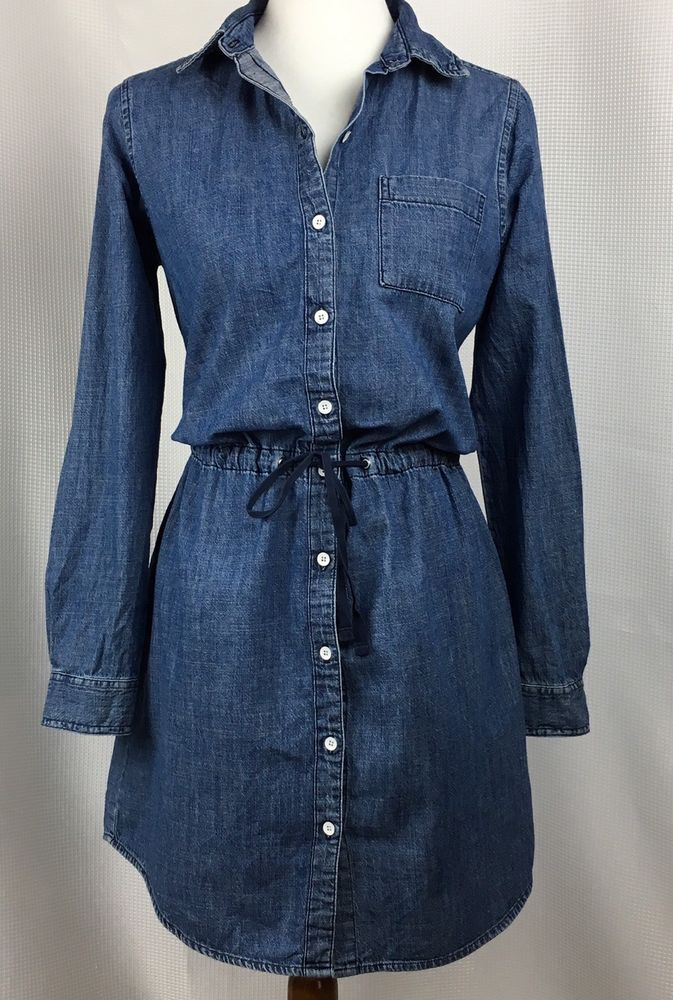 GH Bass Womens Denim Shirt Dress Tunic Size Medium Button Front Cinch Tie Waist #GHBassCo #ShirtDressTunic #Casual