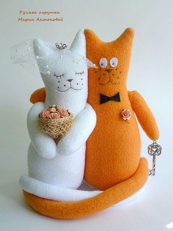 Купить Свадебные коты-неразлучники - коты, кот, подарок на свадьбу, подарок жениху, подарок молодым