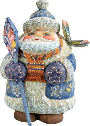 Derevo Butterfly Wishes Santa Figurine